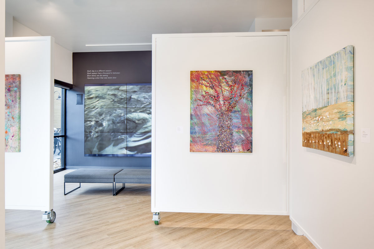 Gallery walls on wheels allow for easy restructuring of the gallery walls.