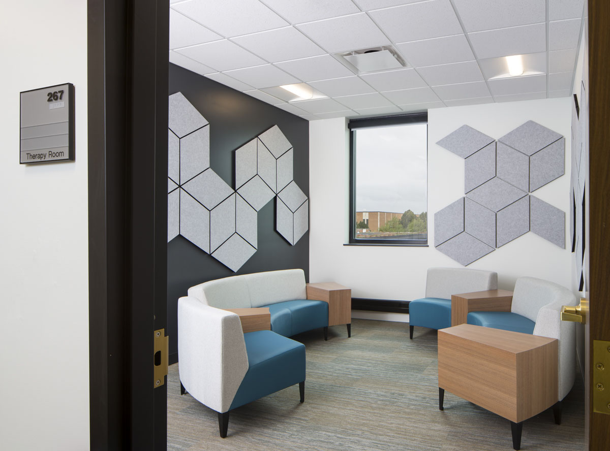 Therapy room with white and blue sofas as part of the healthcare design.