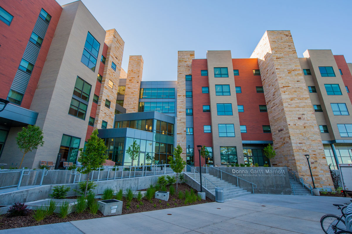 Honors student housing with various colored and textured columns.