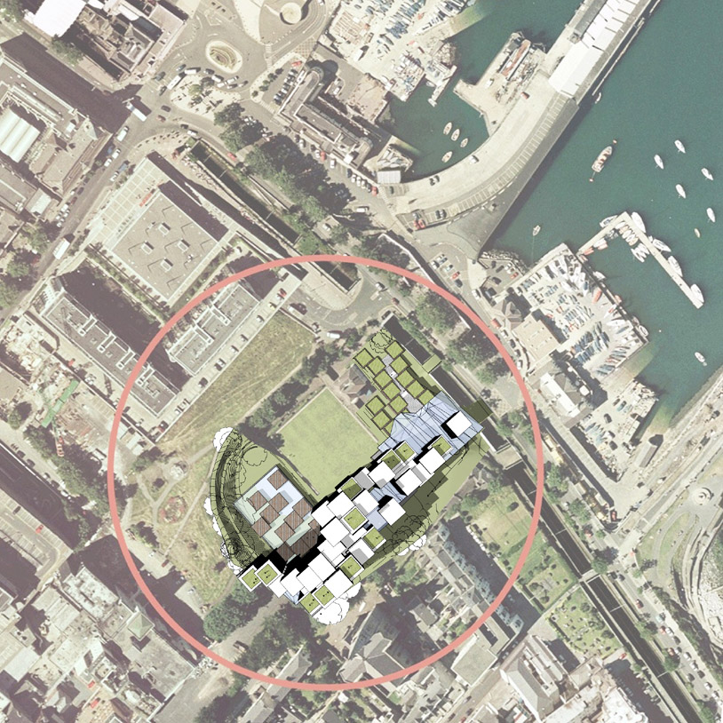 Aerial map of the site for the new library as part of the Irish library design competition.