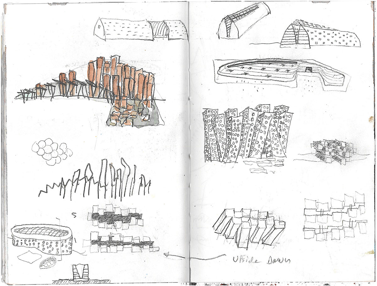 Group of sketches in a sketchbook showing various configurations of basalt columns for the Irish library design competition.