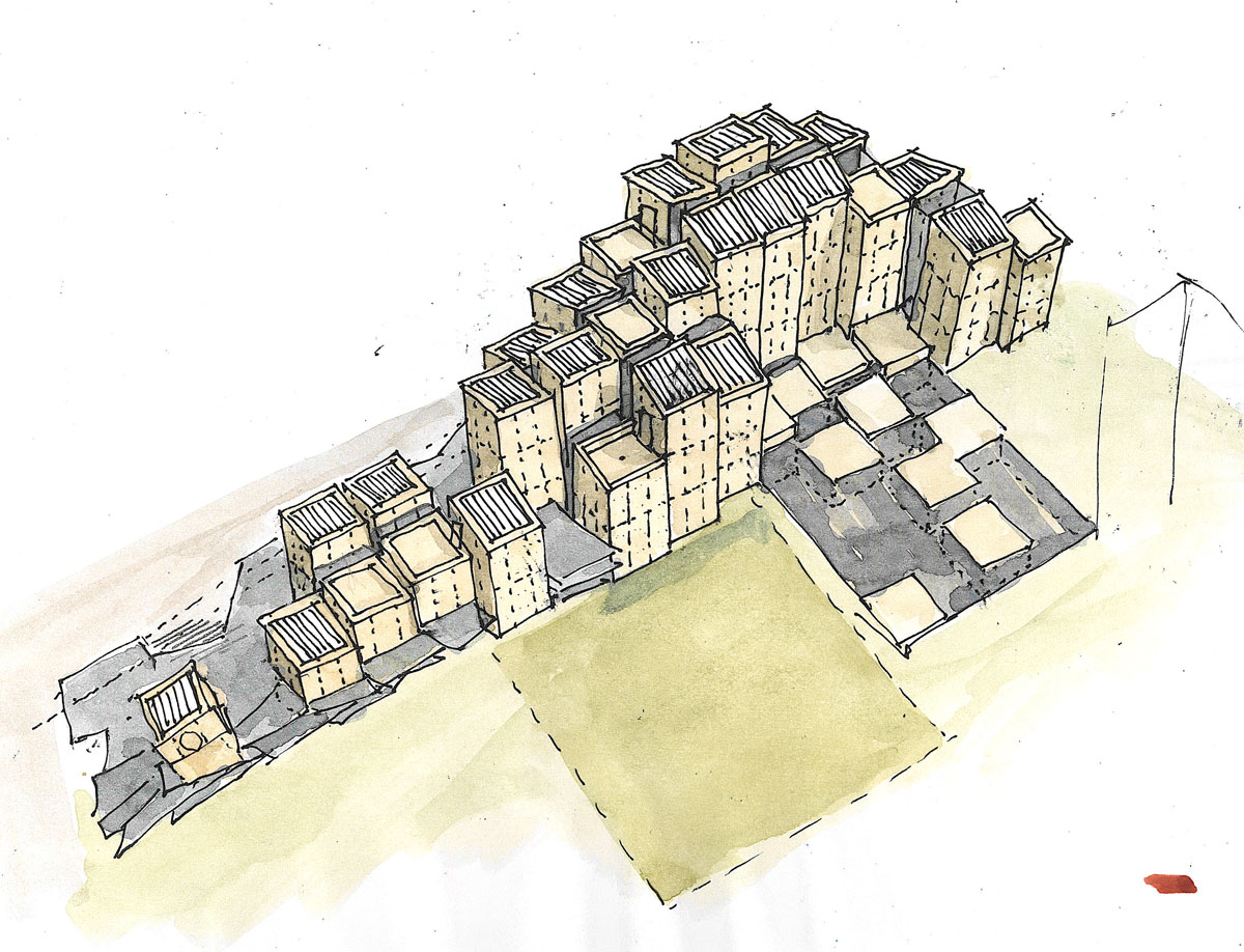 Watercolor design concept sketch showing square towers at varying heights based on basalt columns for the Irish library design competition.