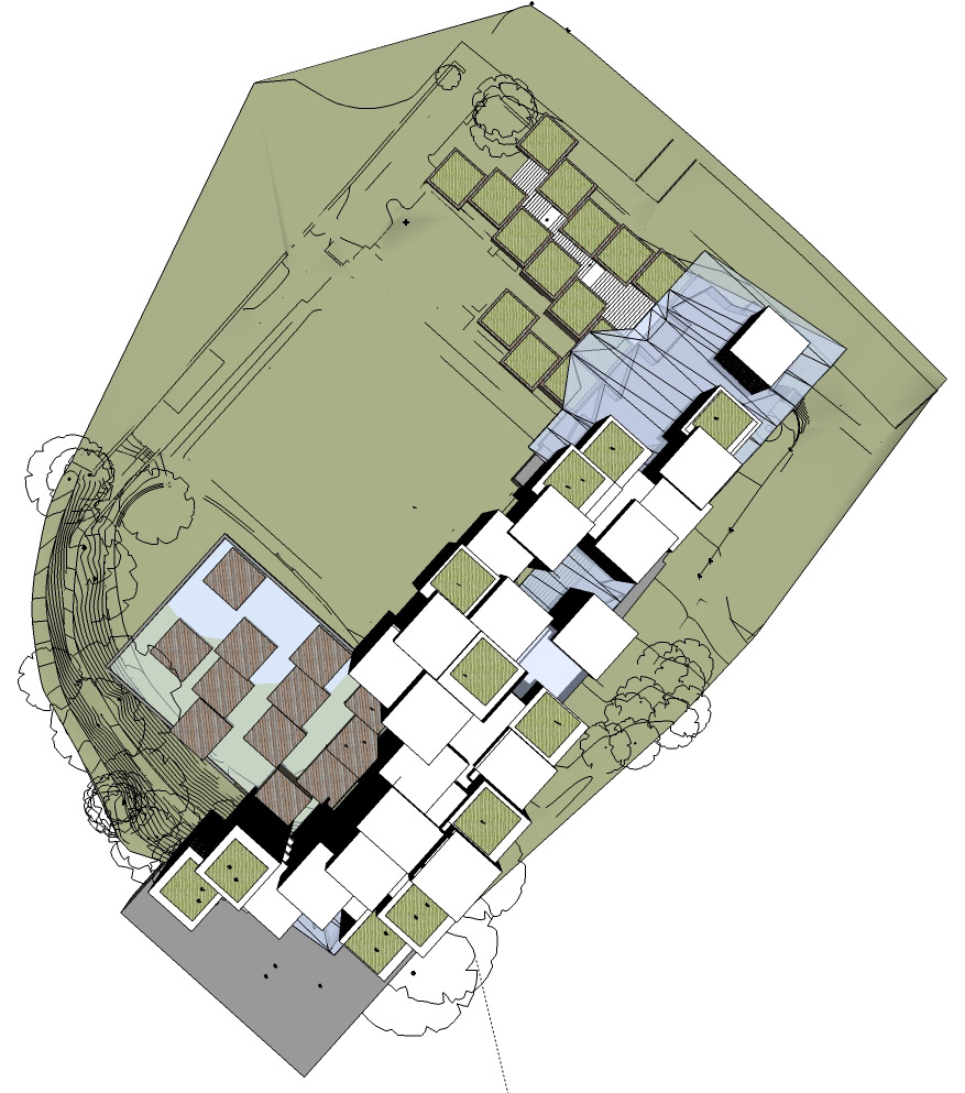 Computer aerial rendering of the building layout for the Irish library design competition.