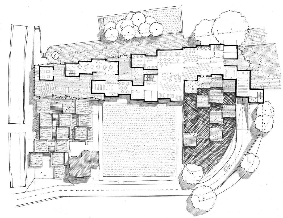 Computer-generated layout of the building for the Irish library design competition.