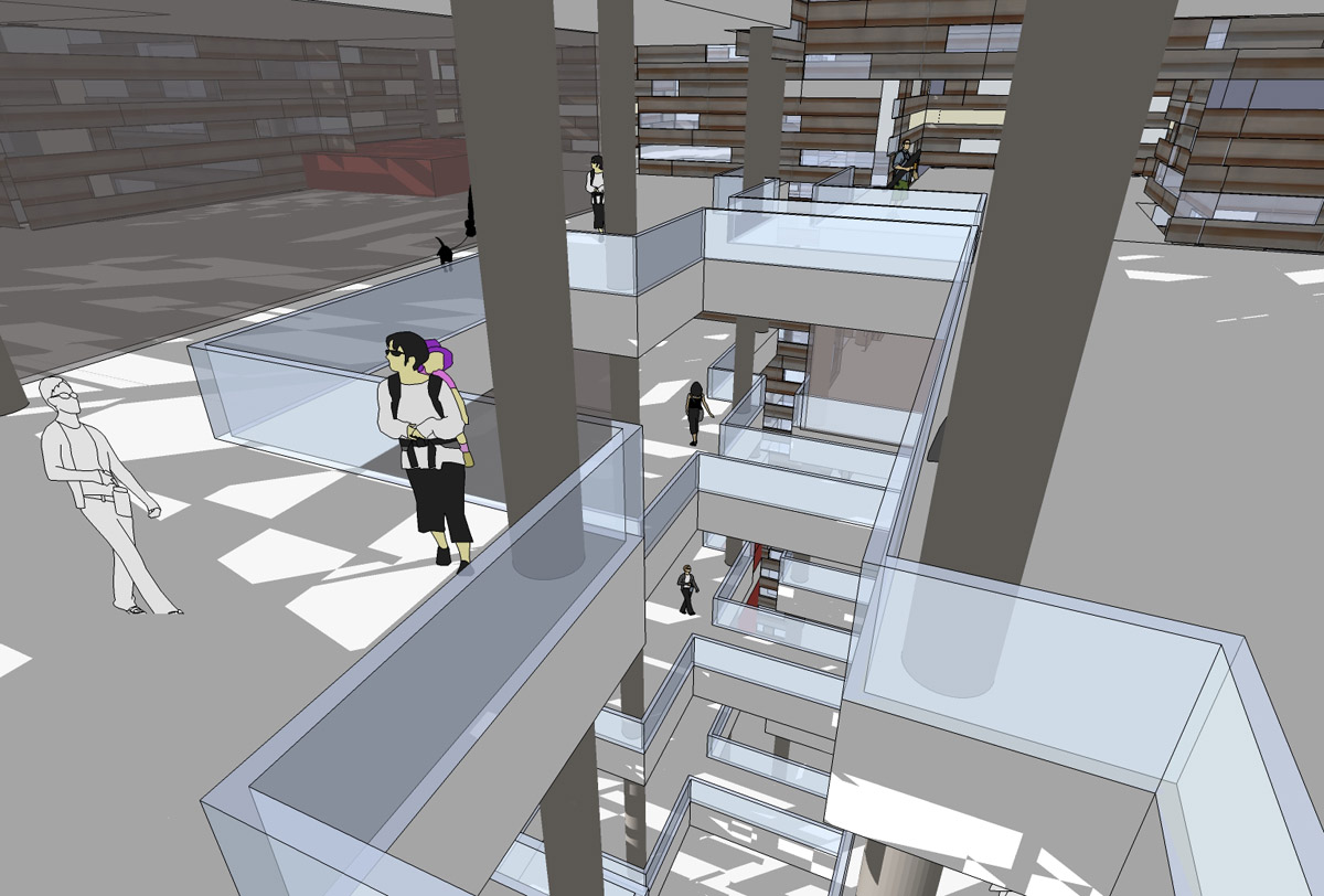 Interior rendering of the library concept for the Irish library design competition.