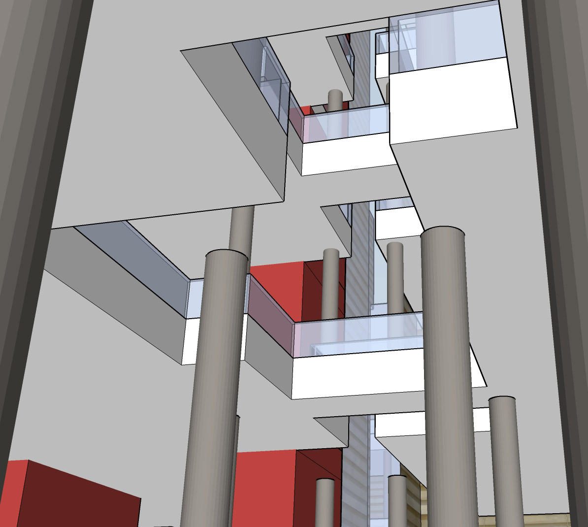 Computer rendering of library interior showing open views from floor to floor for the Irish library design competition.