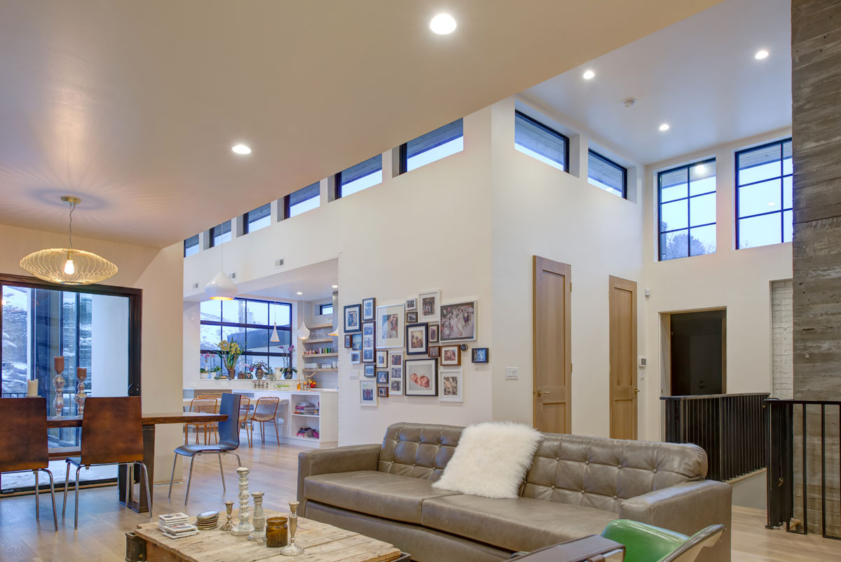 The modern residential design included high ceilings with clerestory windows to incorporate lots of natural light.
