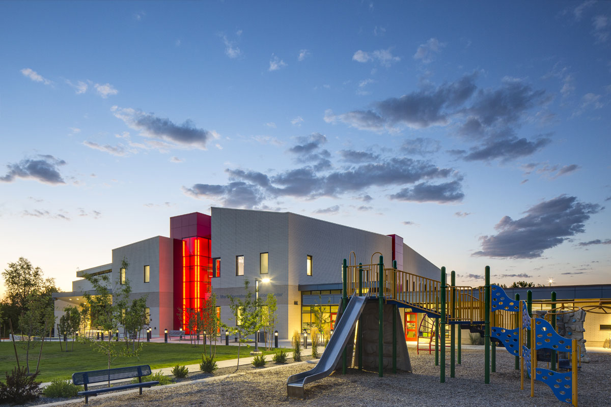 The Utah Schools for the Deaf and the Blind building with playground to the right.