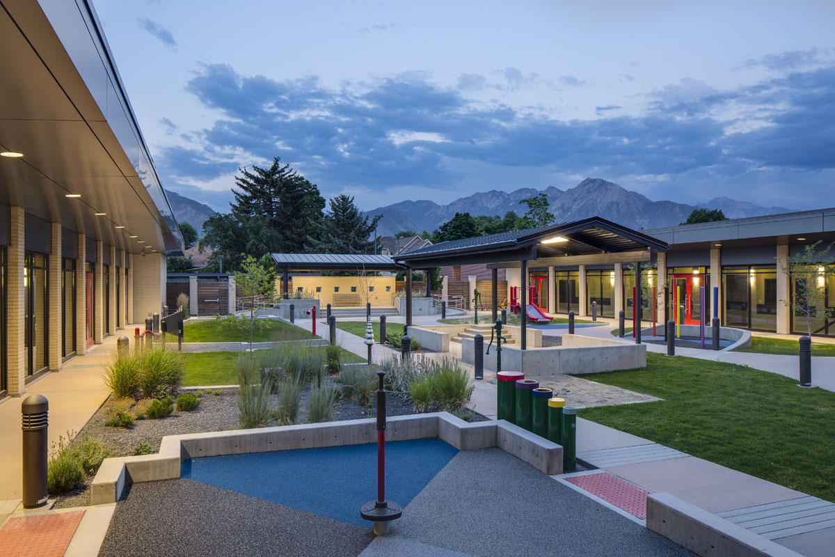 The Utah Schools for the Deaf and the Blind building courtyard and play area.
