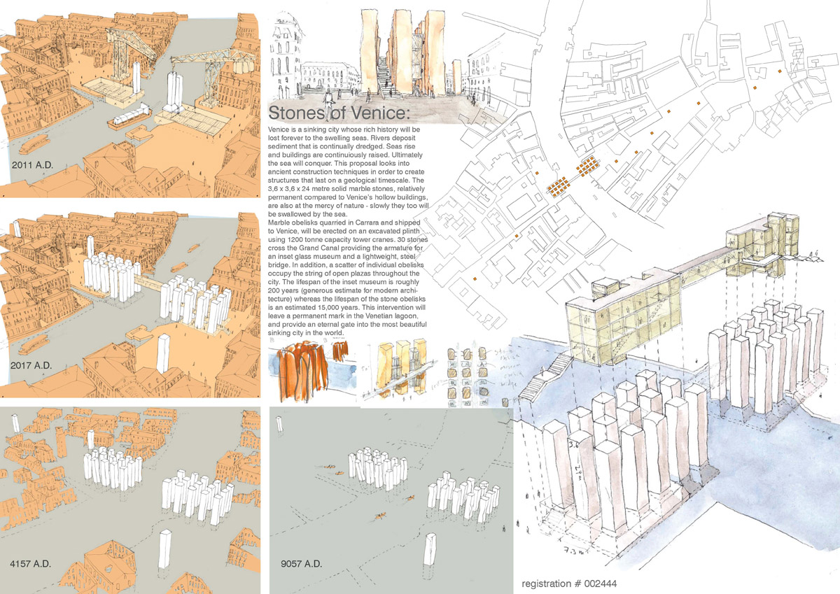 A collage image illustrating in different panels how the city of Venice and the proposed bridge will change as sea levels rise.