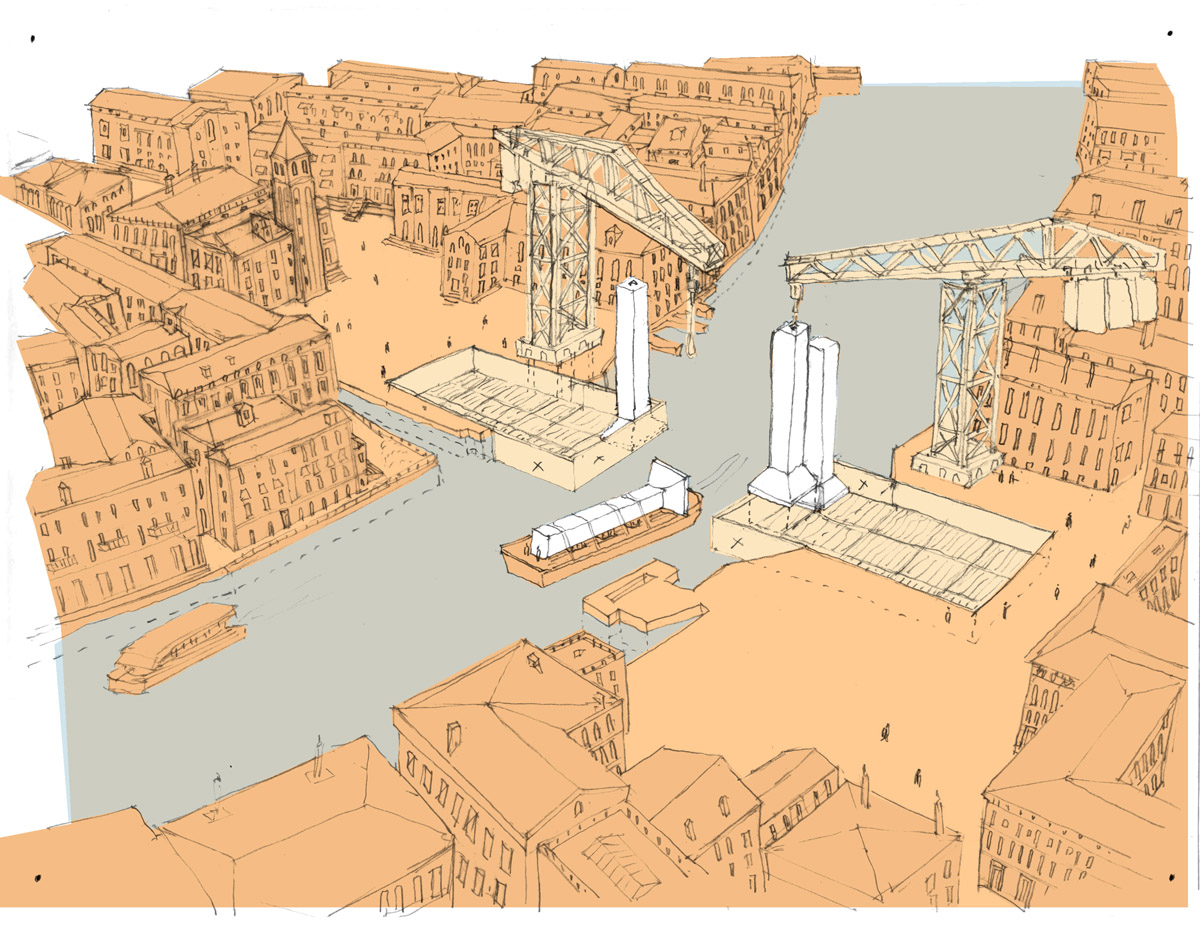 Depiction of the construction phase for the Venice bridge design competition.