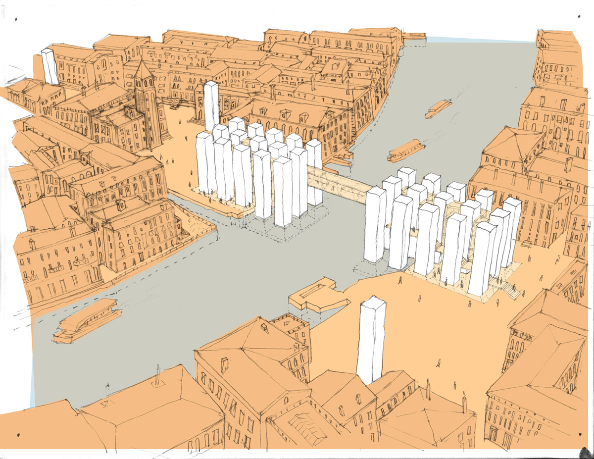 Depiction of the finished design for the Venice bridge design competition.