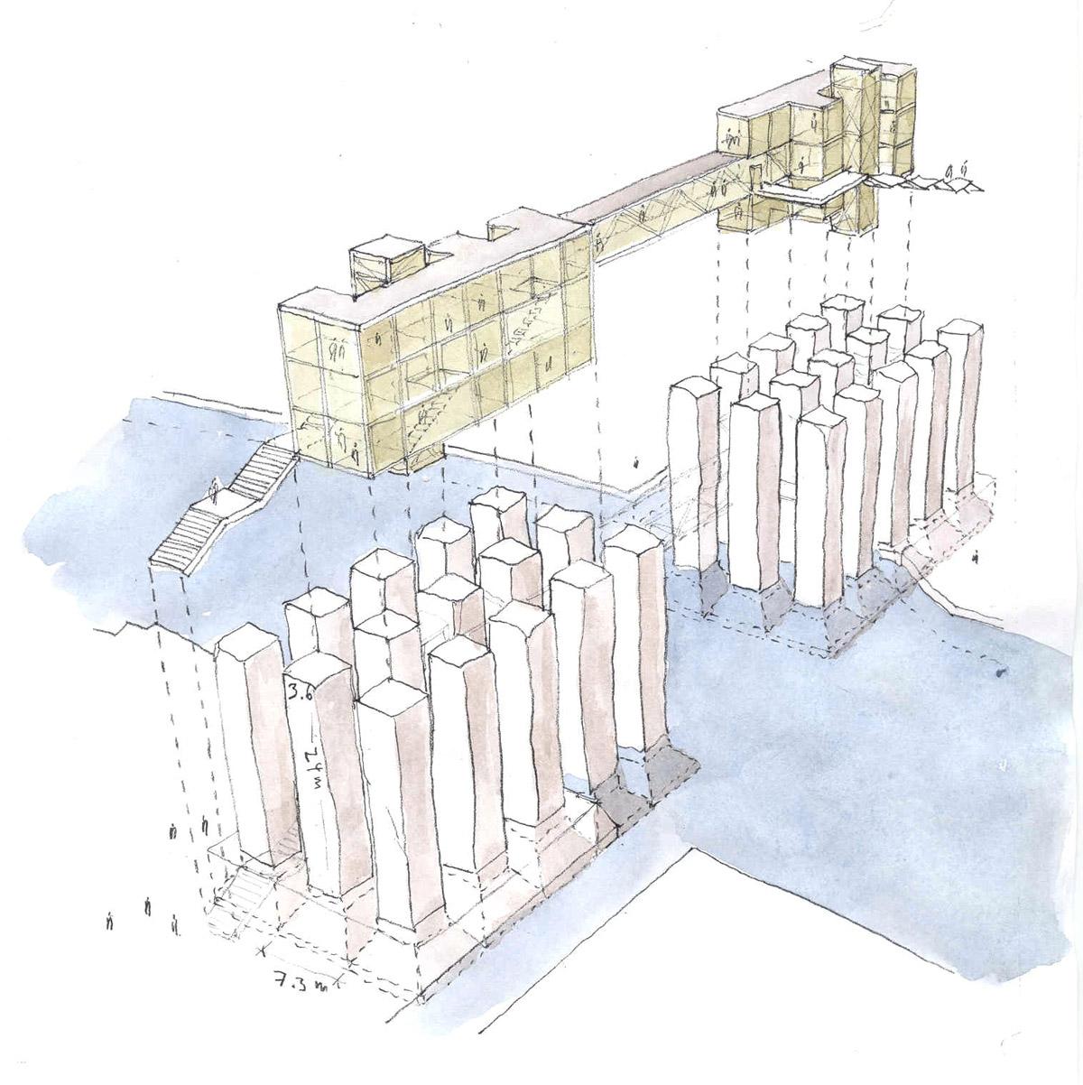 Watercolor bridge design concept for the Venice bridge design competition.