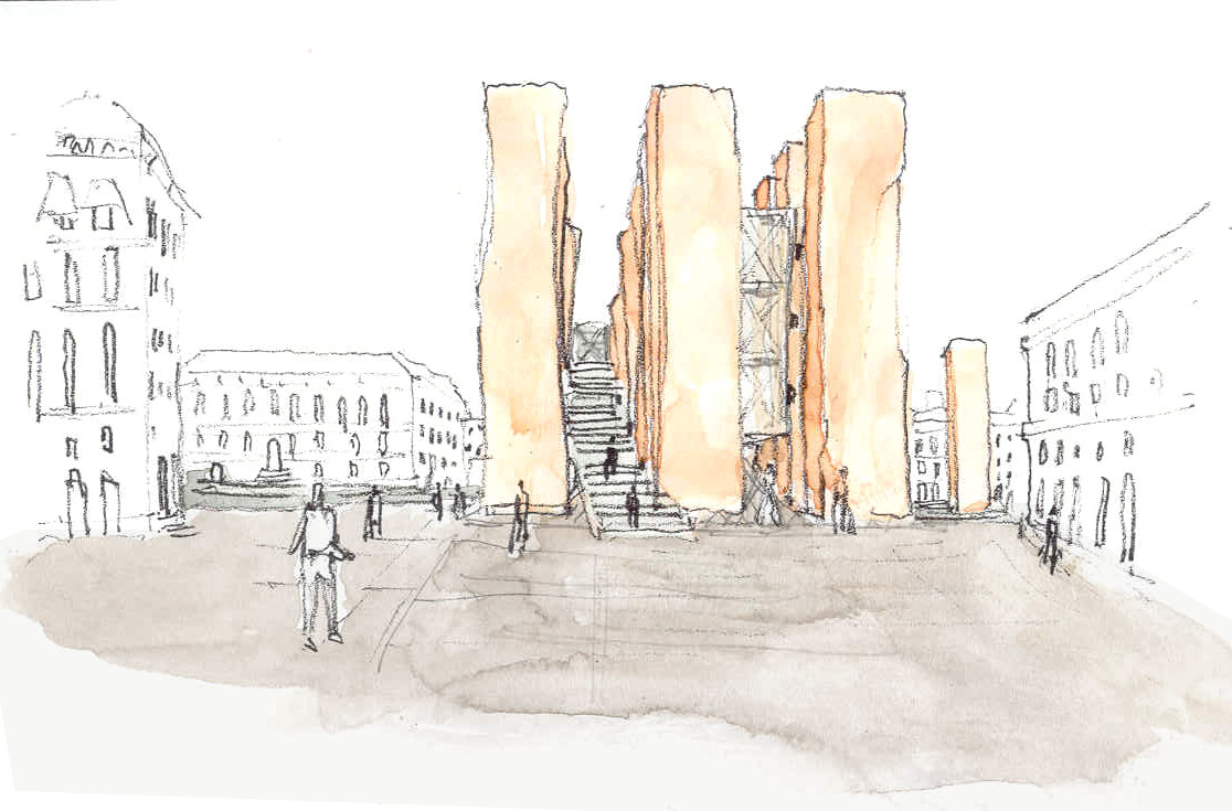 Watercolor concept illustration of how the marble obelisks for the Venice bridge design competition would look at ground level.