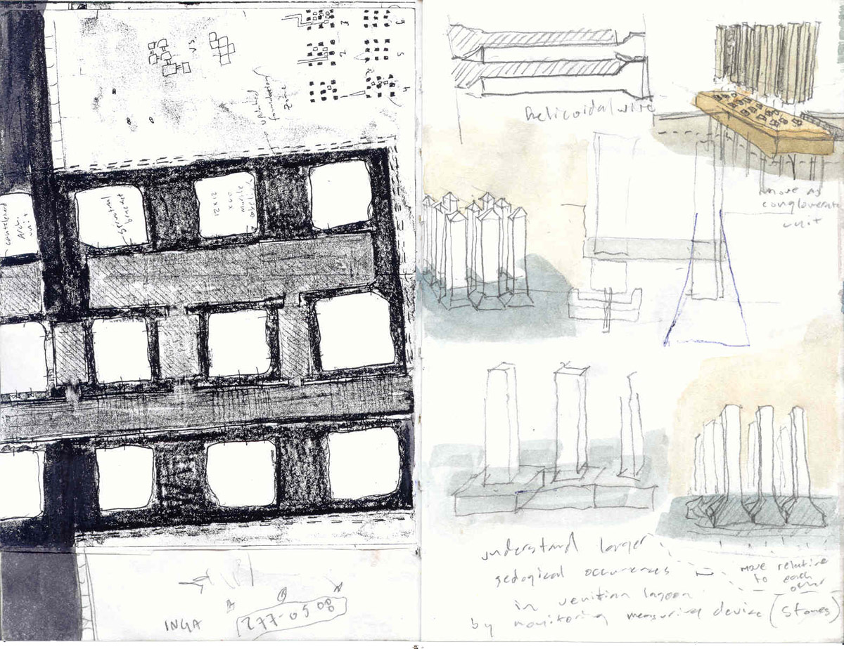 Collage of sketches showing marble obelisk placement in symmetrical rows for the Venice bridge design competition.