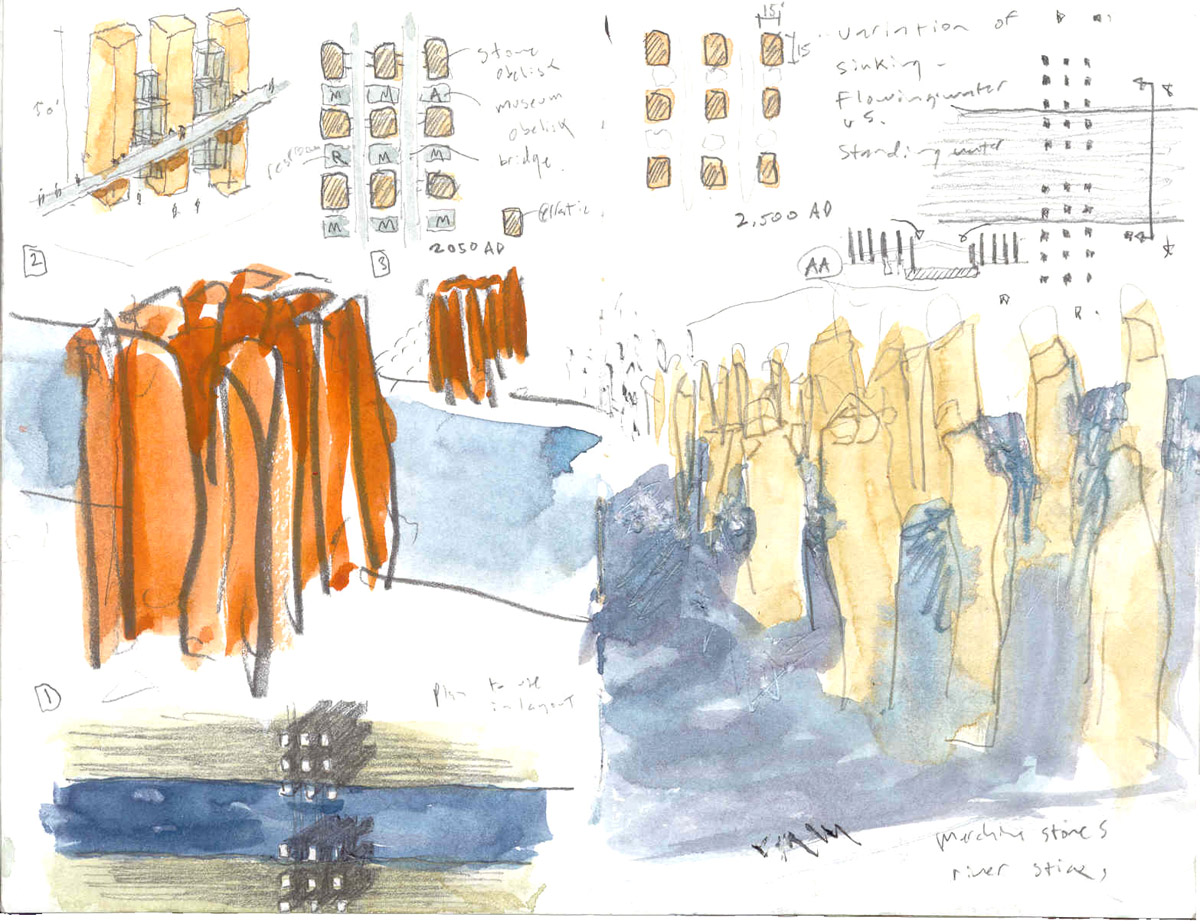 Collage of colored sketches showing the placement in the water of the marble obelisks for the Venice bridge design competition.