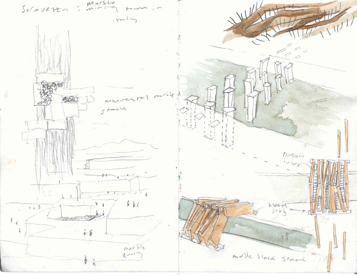 Sketchbook pages depicting stacks of marble blocks for the Venice bridge design competition.