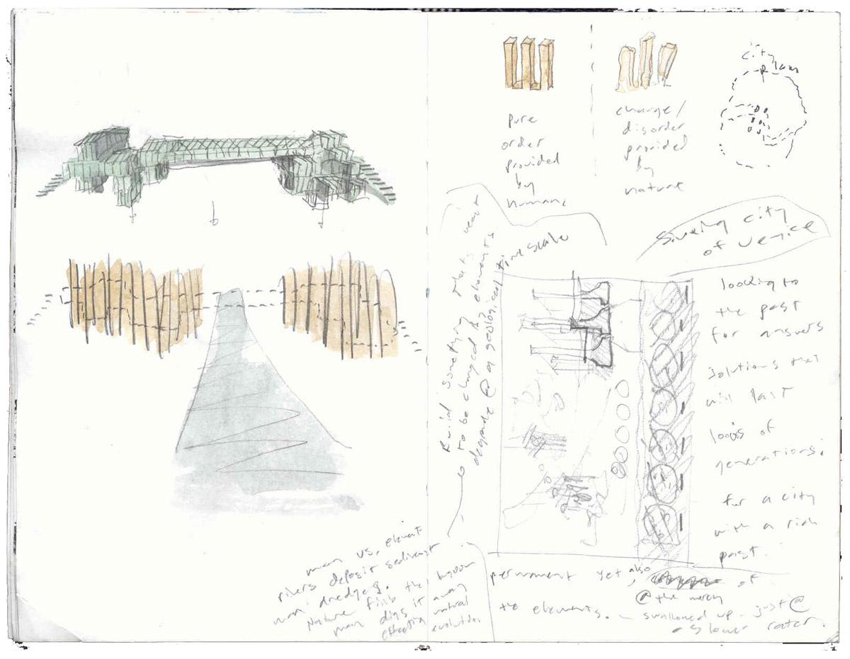 Sketches illustrating the bridge configuration for the Venice bridge design competition.