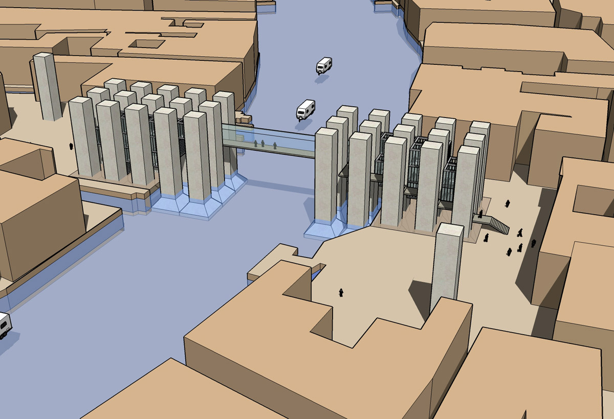 Computer rendering of the marble obelisks and the glass walkway for the Venice bridge design competition.