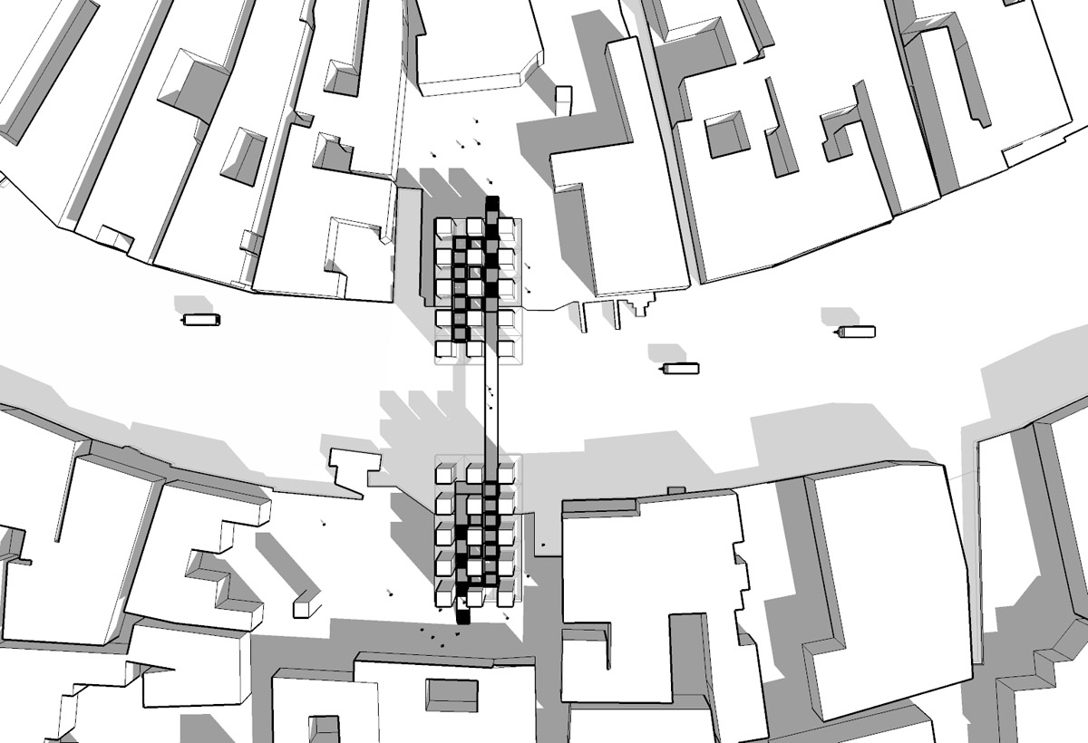 Aerial computer model view of the marble obelisk layout for the Venice bridge design competition.