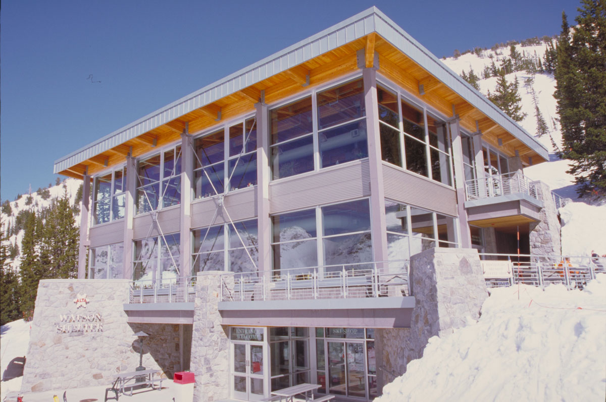 Watson Shelter ski lodge with white snow surrounding the building.