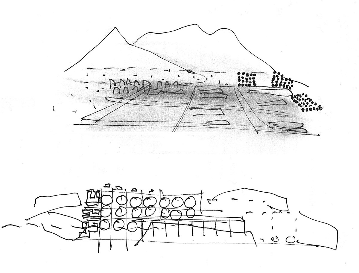 Collage of crude pen sketches showing mountains in the background and a rough building sketch.