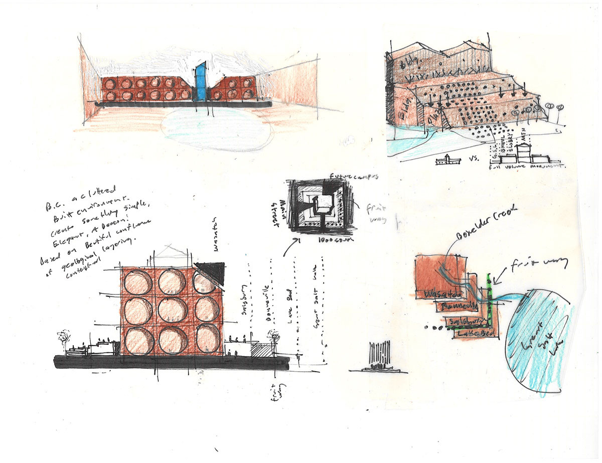 Collage of colored sketches showing design concepts of a red brick facade with circular cutouts.