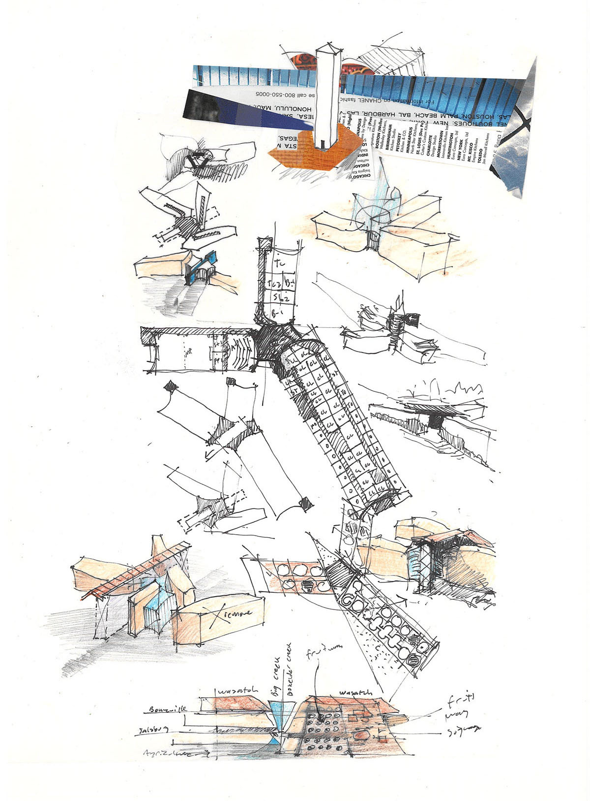 Collage sketch of building layout concepts with four wings in a X-like configuration.