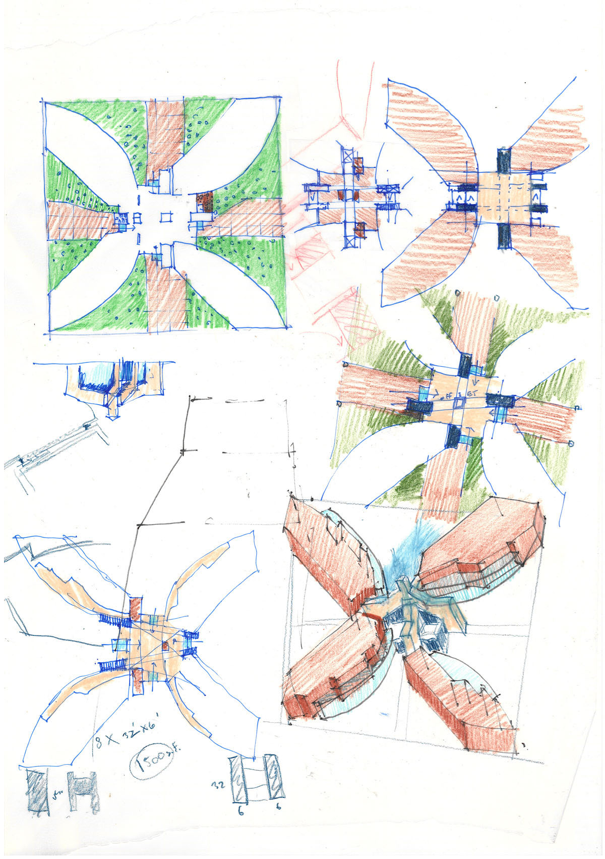 Collage of sketches showing the X configuration for the campus starter concept.