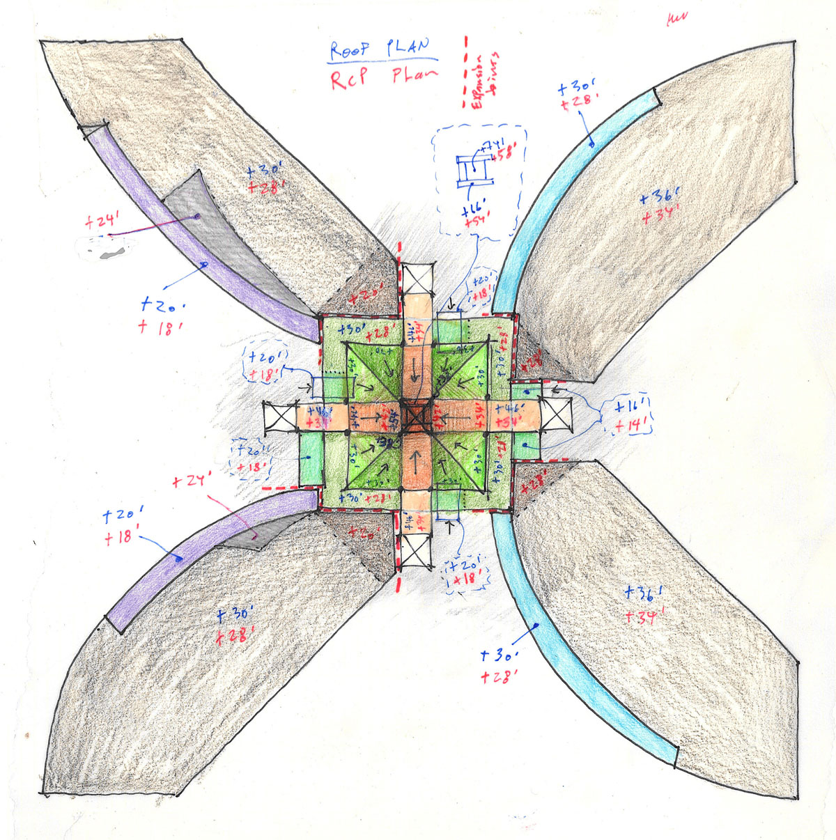 Color sketch of the four curved wings of the campus starter concept laid out in an X configuration.