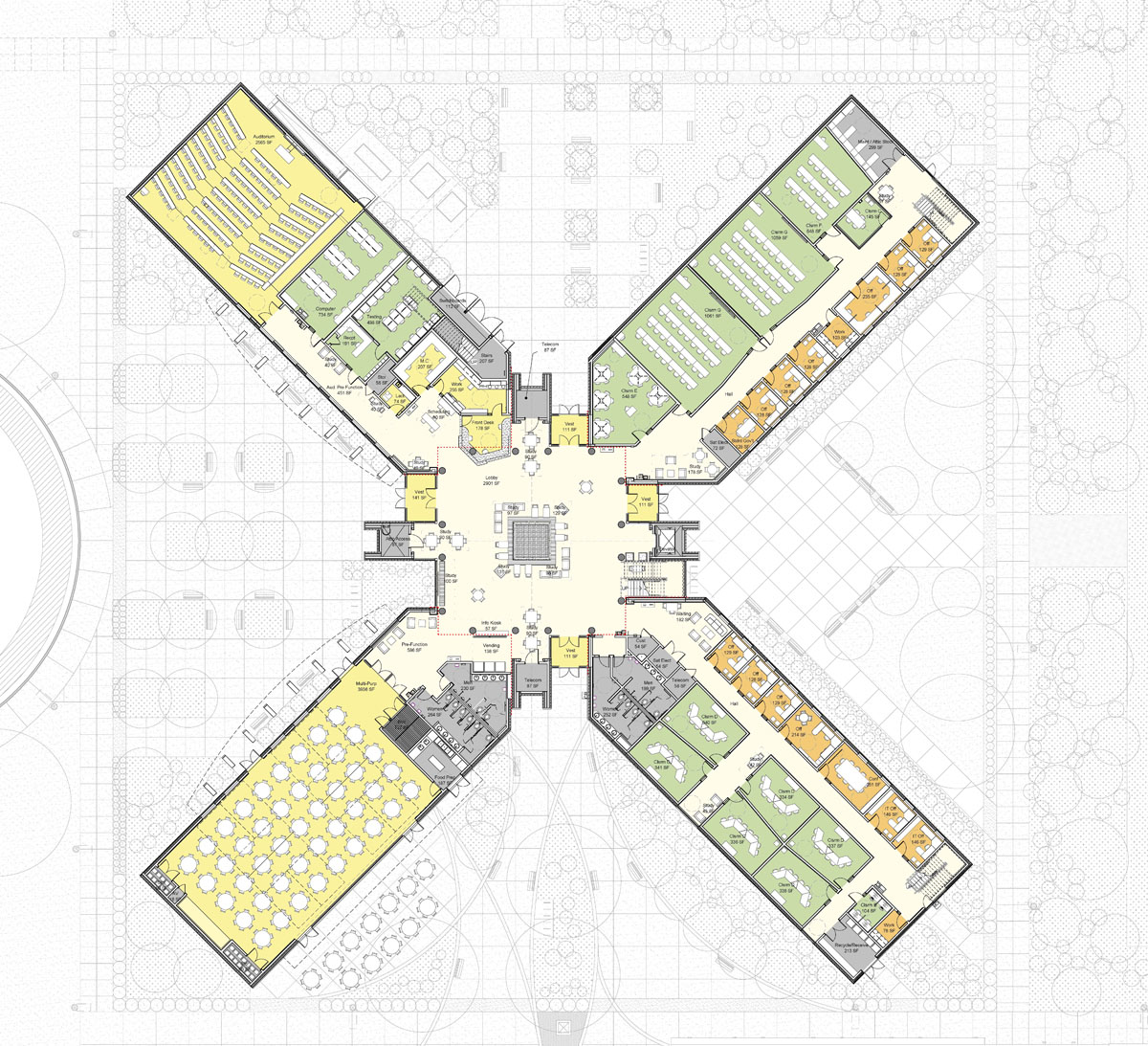 Computer floor plan of the campus starter concept building with four wings laid out in an X pattern.