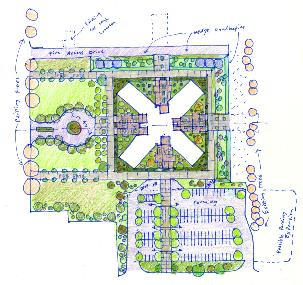 Colored sketch of the site plan showing where parking lots, roadways, and landscaping will go with the campus starter concept building in the middle.