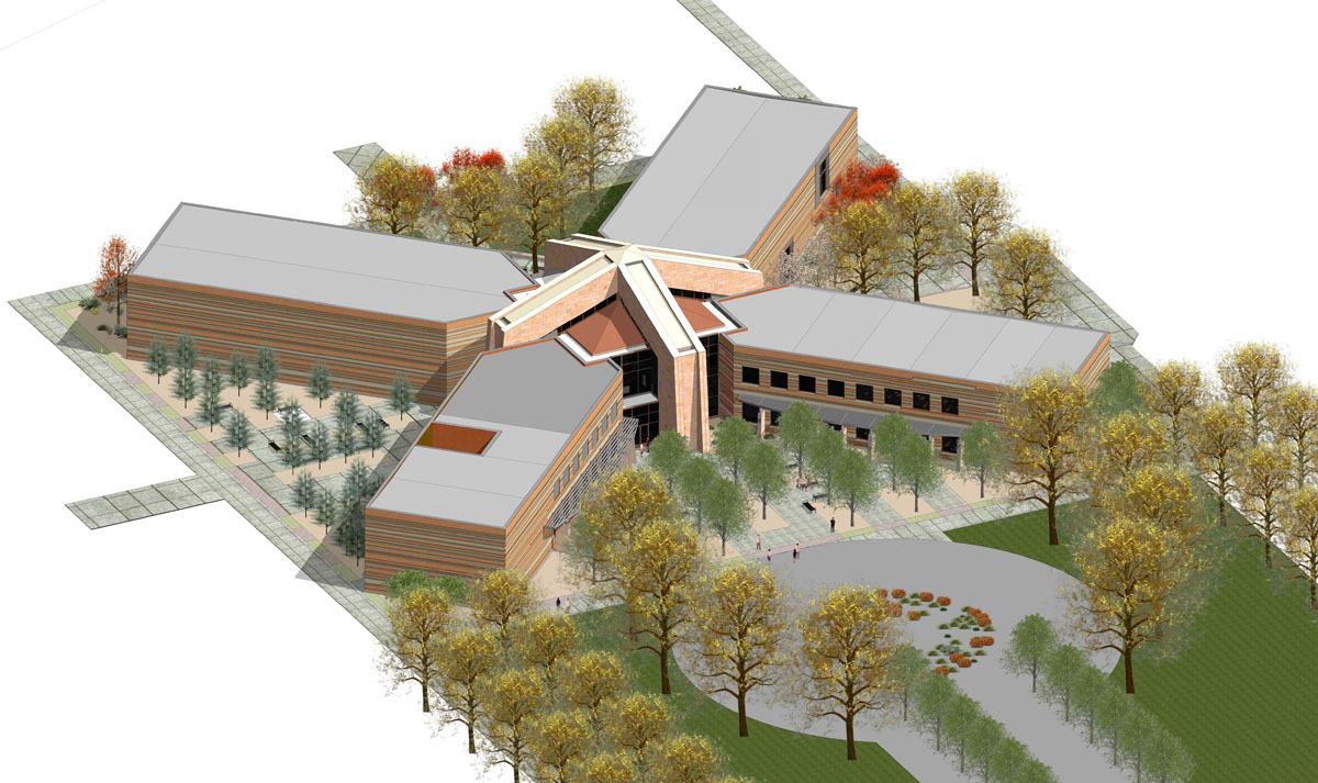 3D computer rendering of the campus starter concept building design with four wings connected with a center atrium.