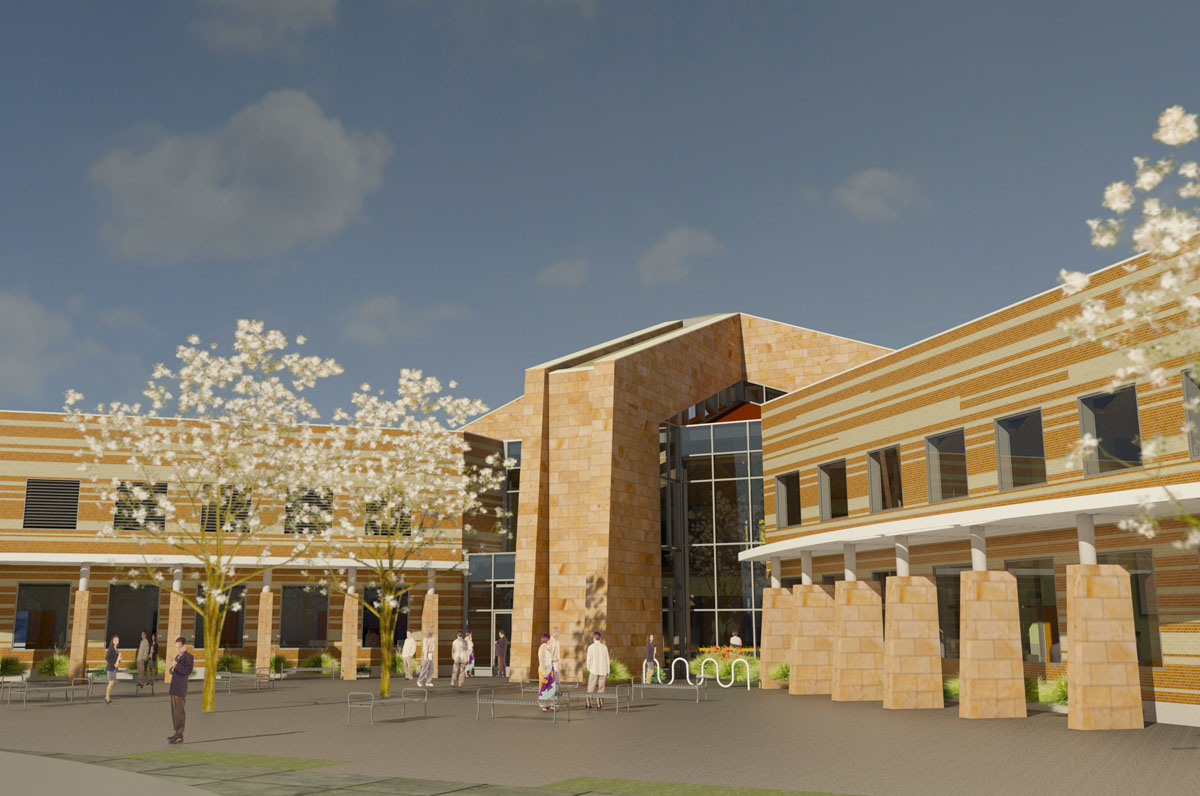 3D computer model of the main entrance to the campus starter concept building.