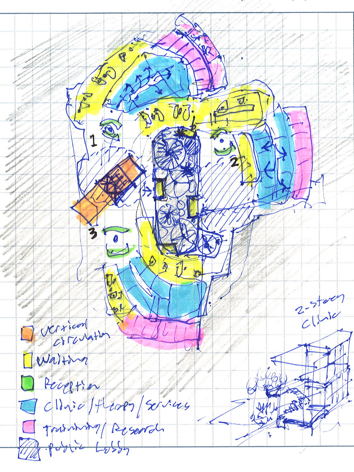 Pen sketch exploring possible layouts for the center for healing.