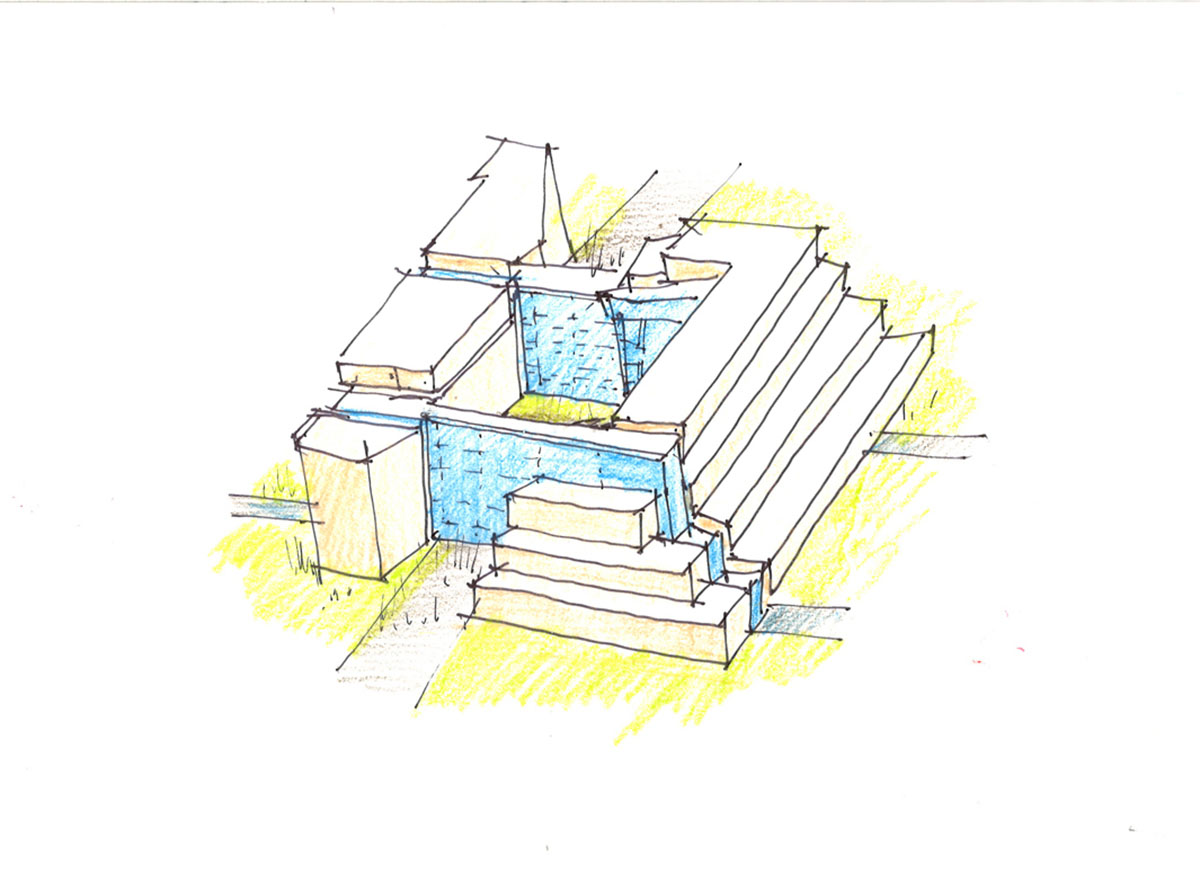 Pen sketch showing stacked design for the center for clinical excellence.