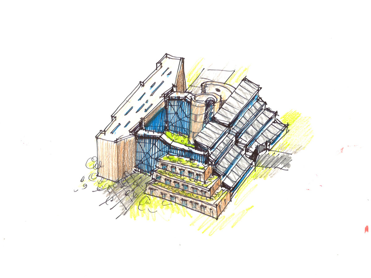 Pen sketch of design concept with stacked floors decreasing in size up the building.