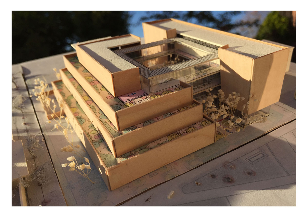 Wood scale model of the center for clinical excellence.