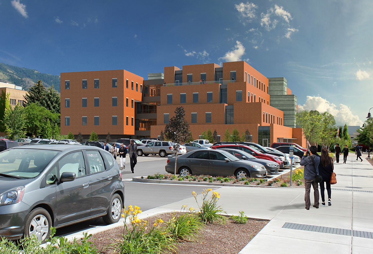 Computer rendering showing final design from the side of the building with parking lot in foreground.
