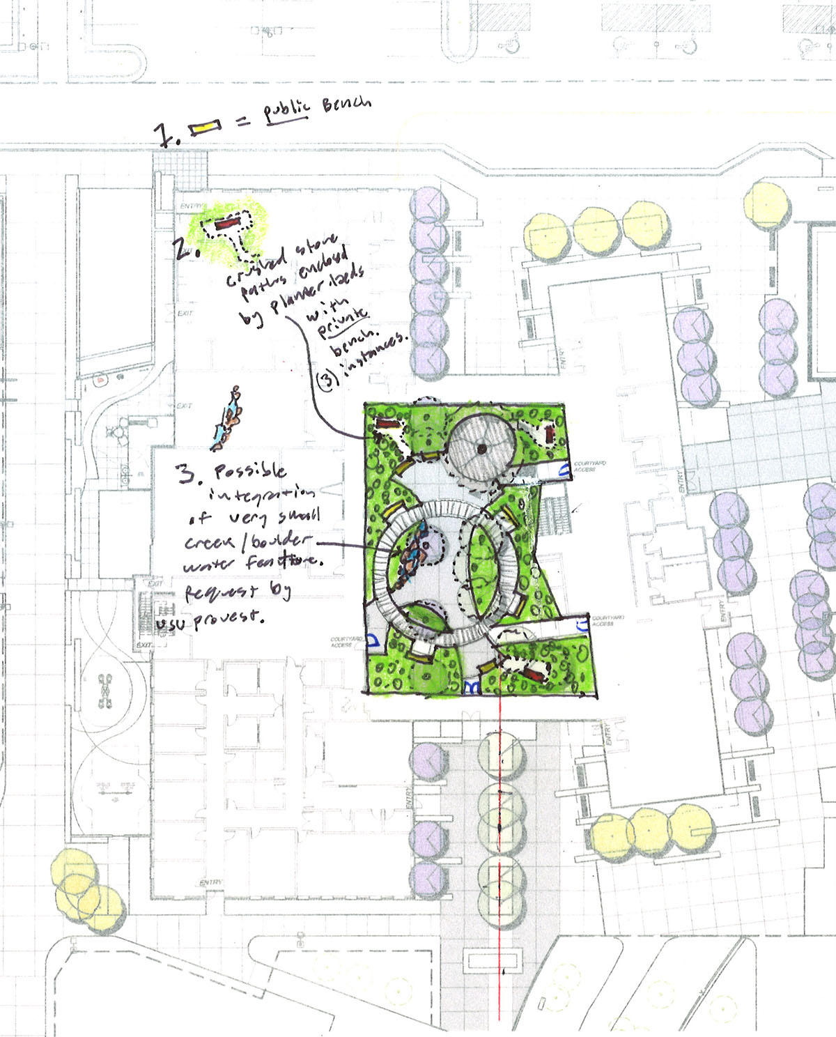 Diagram of design plans for the healing garden courtyard located in the middle of the center for healing.