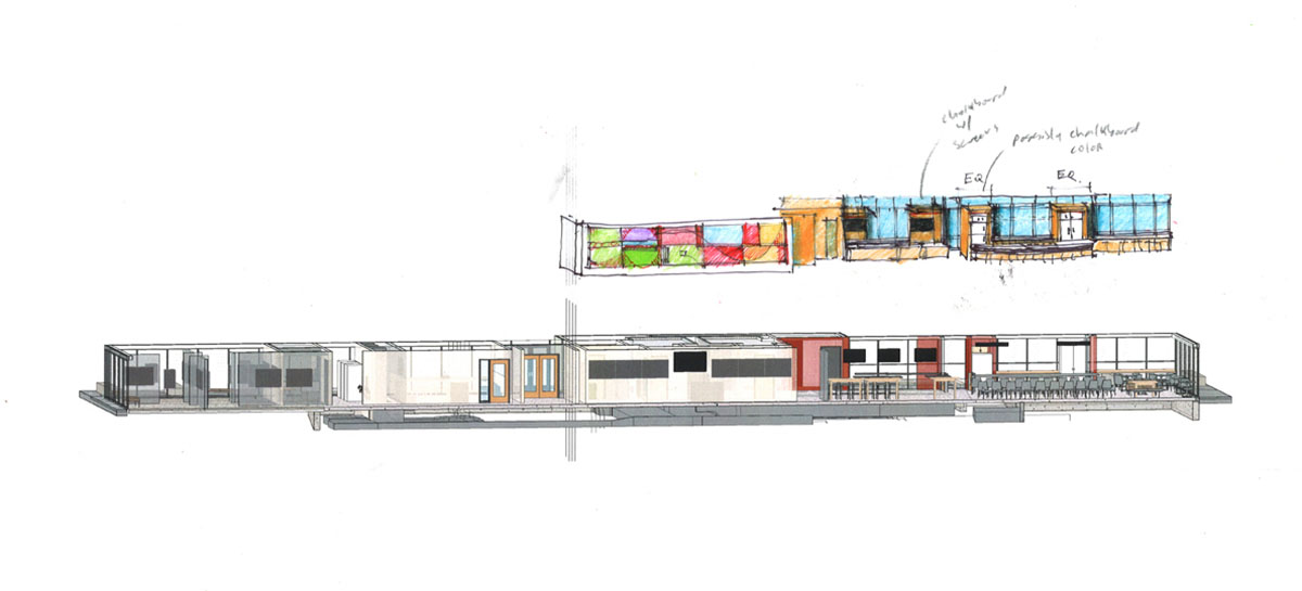 Drawing of design concept for the main floor lobby and information desk.