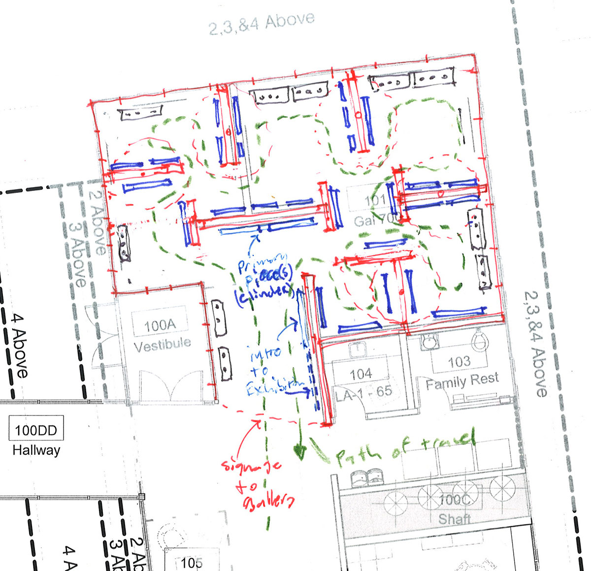 Marked up floor plan for the gallery area on the main level in the center for healing.