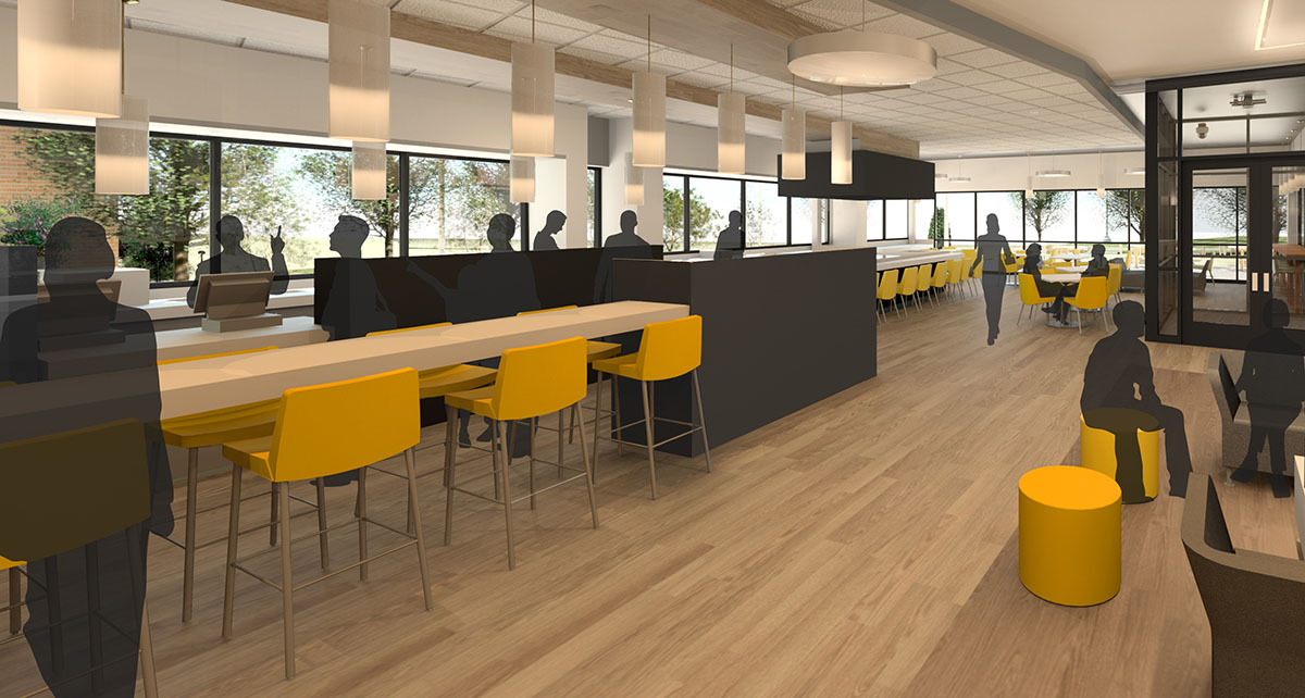 Computer rendering showing the interior of the cafe with yellow bar height chairs and soft lighting.