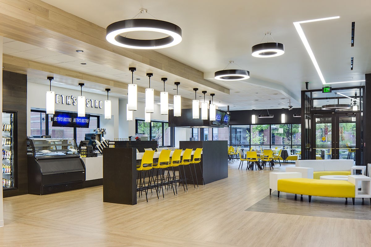 Finished interior of the cafe on the main level of the center for healing at Utah State University.