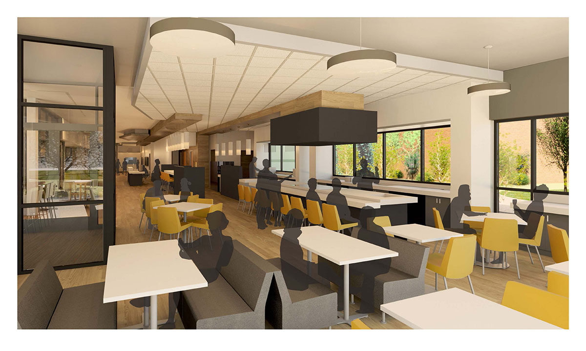 Computer rendering of the booth seating in the cafe in the center for healing.