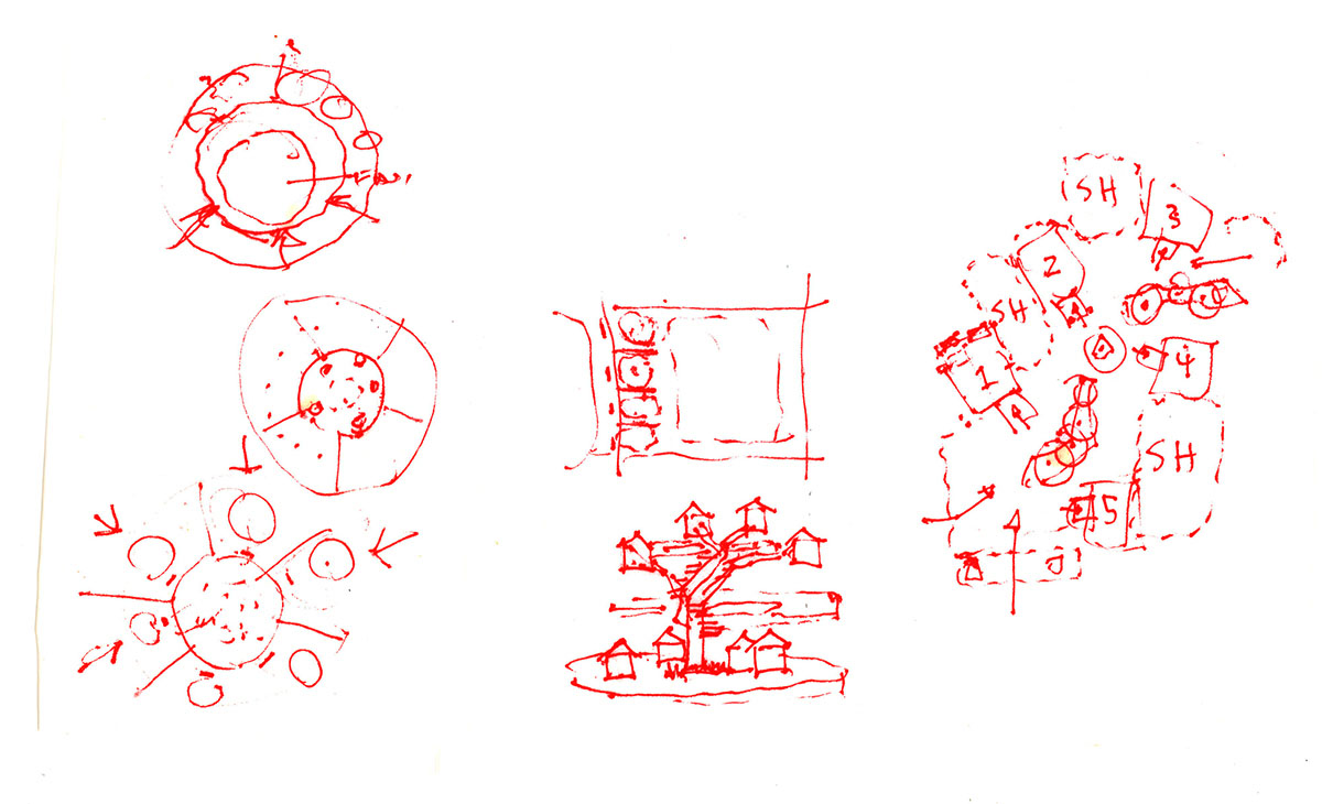 Red pen sketch of concepts for the clinic waiting areas.