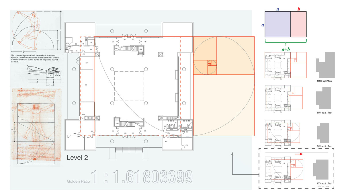 Layout of the building incorporating the golden ration as inspiration for the classical modern museum design.