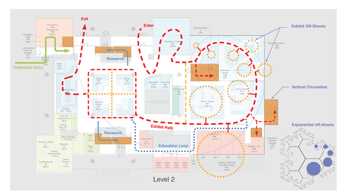 Layout and possible patron path for the museum exhibits.