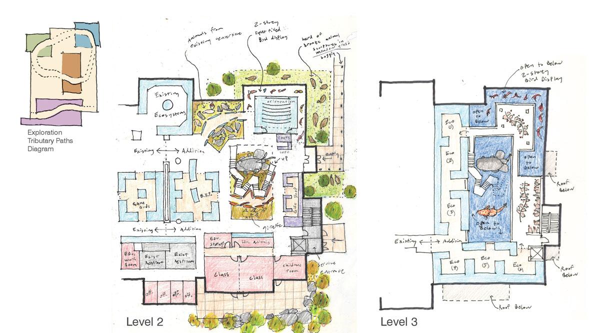 Floor plan detailing exhibit spaces for the classical modern museum design.