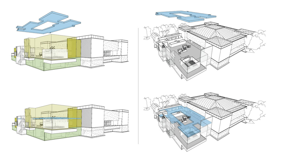 Collage of computer renderings showing the main and upper floors for the classical modern museum design.